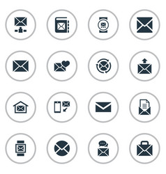 set of simple communication icons elements vector image