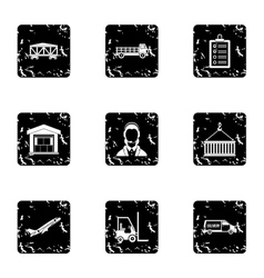 Shipping icons set grunge style vector image