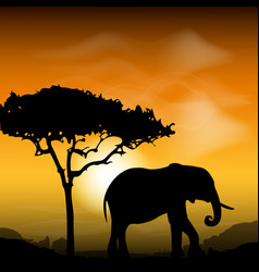 silhouette elephant with tree on the background of vector image vector image