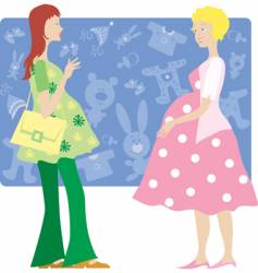 Two pregnant ladies vector