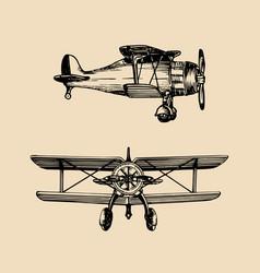 vintage retro airplane logo hand sketched vector image