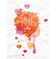 Watercolor Valentines Day card lettering vector image vector image