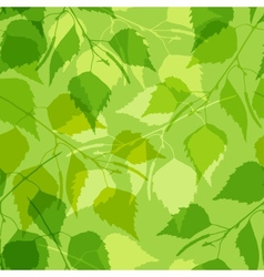 Seamless pattern with green birch leaves vector image