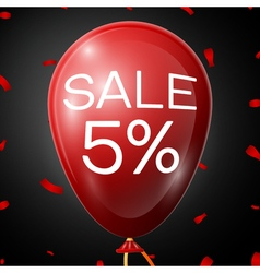Red baloon with 5 percent discounts over black vector