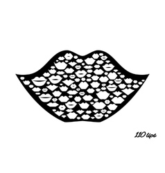 Lips shape made with kisses vector