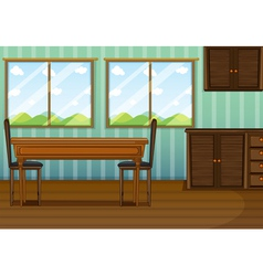 A clean dining room with wooden furnitures vector
