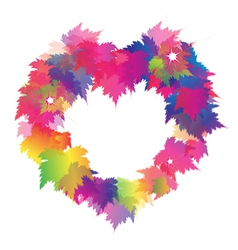 Beautiful heart shape from colorful maple leaves vector