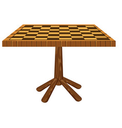 Checker board carved on table vector