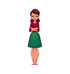 Young woman girl standing with frowned angry vector