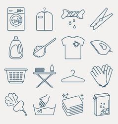 Collection of laundry icons set of housework vector