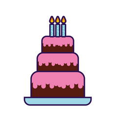 Cute birthday cake cartoon vector