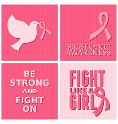 Breast cancer awareness pink cards set vector