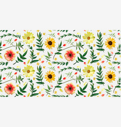 flower floral seamless pattern design orange red vector image