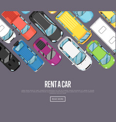 Rent a car poster with modern city cars vector