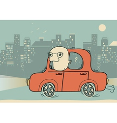Driver man driving by car in the evening city vector