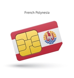 French polynesia mobile phone sim card with flag vector