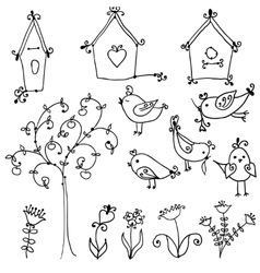 cute birds tree and and birds nesting boxes vector image