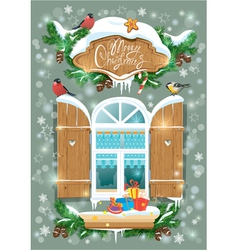Christmas and new year card with wooden frosty win vector