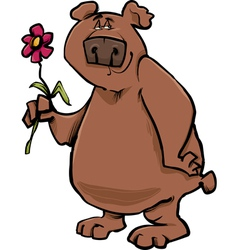 Bear with flower cartoon vector