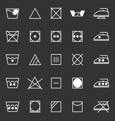 Fabric care sign and symbol icons on gray vector