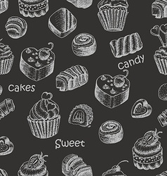 Seamless pattern with sweet cakes and candy on a vector