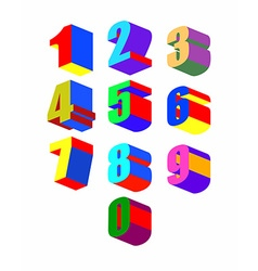 Set crazy colorfu 3d numbers vector
