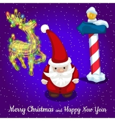 Christmas card santa with reindeer and road sign vector