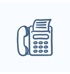 Fax machine sketch icon vector
