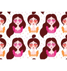 Girls wearing surrealistic lip eyeglasses seamless vector