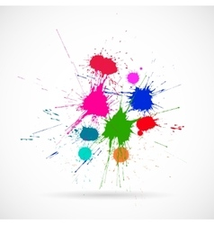 Ink color blots on the white background vector