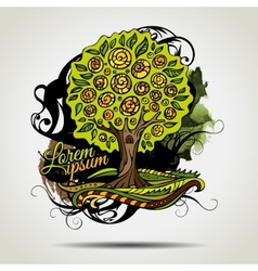 Abstract grunge decorative tree vector image vector image