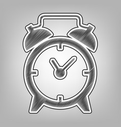 Alarm clock sign pencil sketch imitation vector