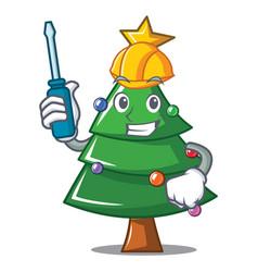 Automotive christmas tree character cartoon vector