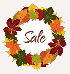 autumn sale label with yellow leaves vector image vector image
