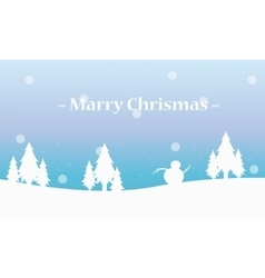 Beautifl landscape tree and snowman winter vector