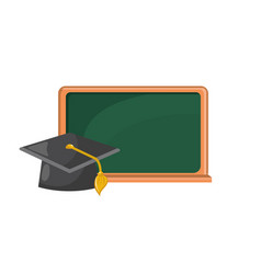 blackboard object with cap graduation design vector image vector image