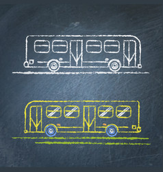 bus sketch on chalkboard vector image vector image