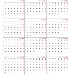 Calendar for 2016 eurostyle vector