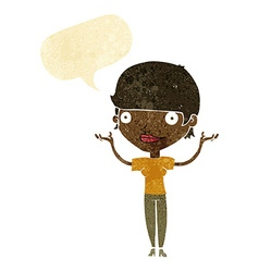 Cartoon woman holding arms in air with speech vector