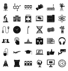 Conference icons set simple style vector