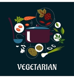 Cooking vegetarian dish flat infographic vector