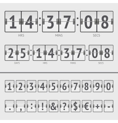 Countdown timer and scoreboard numbers vector