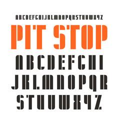 Decorative stencil-plate sanserif font vector