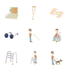 Disabled icons set cartoon style vector