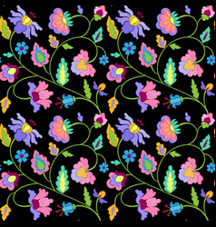 fantasy flowers embroidery seamless pattern vector image vector image