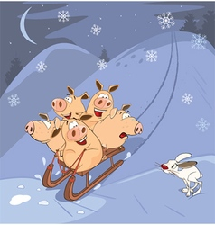 Funny piglets driving in sledg vector
