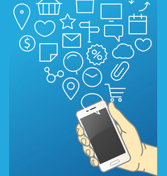 hand holding modern smartphone communication vector image