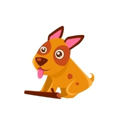 Happy Puppy Brought A Stick vector image