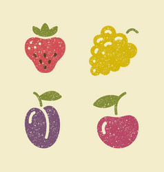 icons berries in retro style vector image vector image