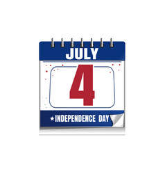 independence day calendar 4 july vector image